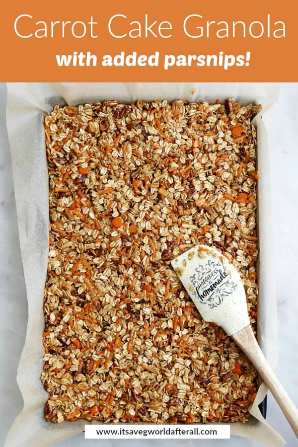 granola on a baking sheet with a rubber spatula and an orange text overlay