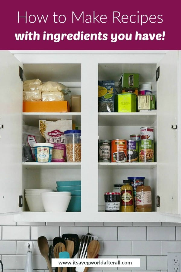 pantry cabinet with non-perishable ingredients and a purple text box