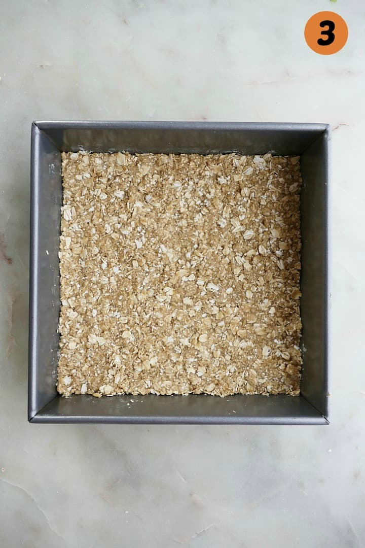 and oat base pressed into an 8x8 baking dish