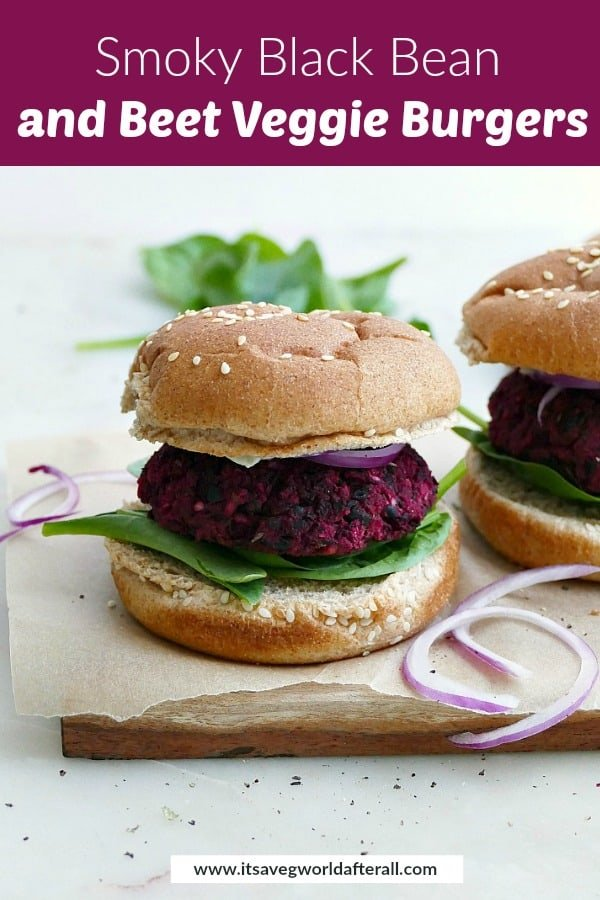 black bean beet burgers on buns with a purple text box with recipe name