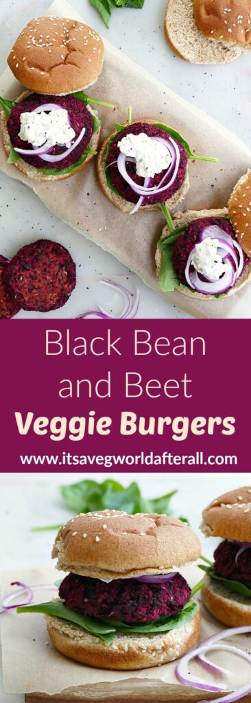 images of three black bean beet burgers with toppings and a single burger separated by a text box