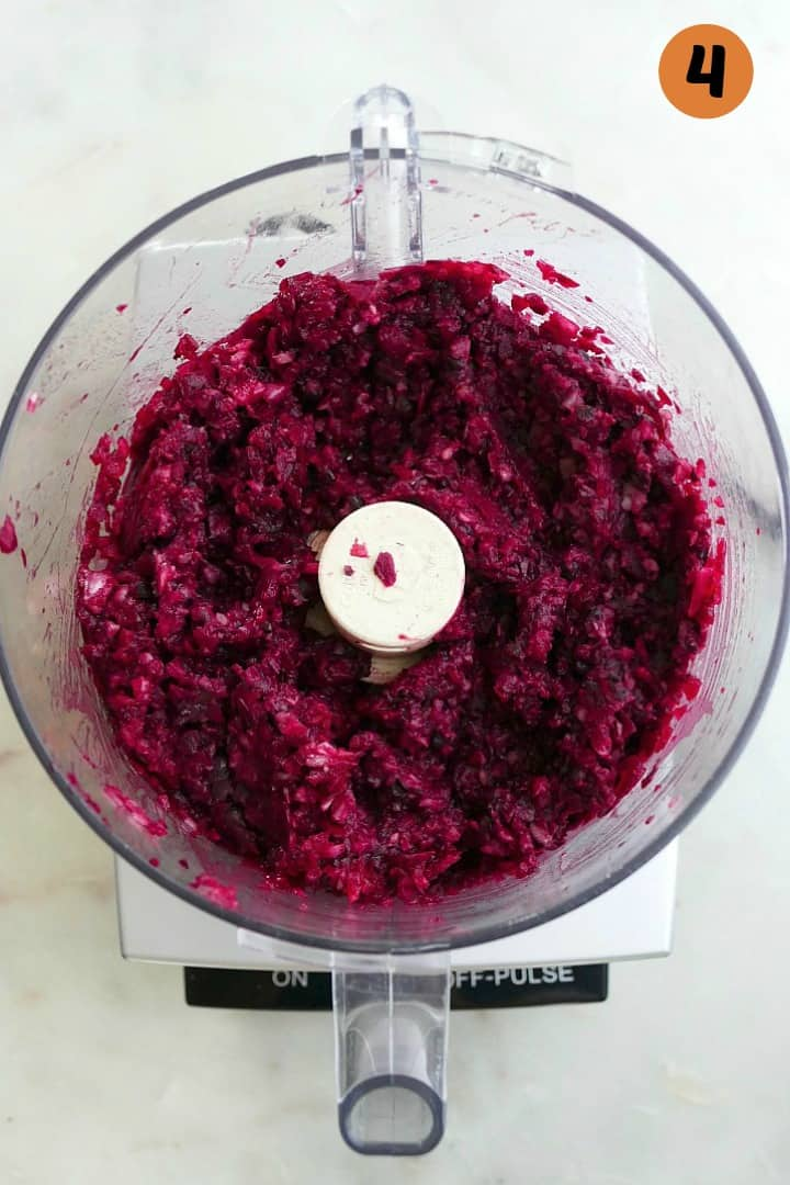batter for black bean beet burgers in a food processor on a counter