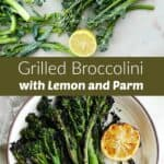 photos of raw and grilled broccolini with a green text box in the middle