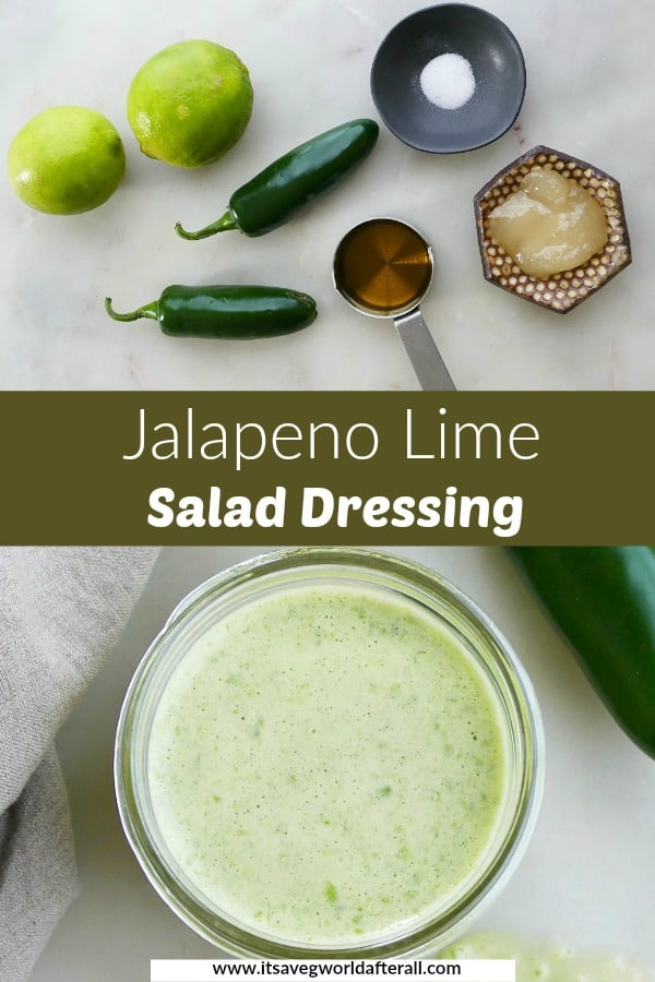 salad dressing ingredients and finished recipe with a green text box in the middle