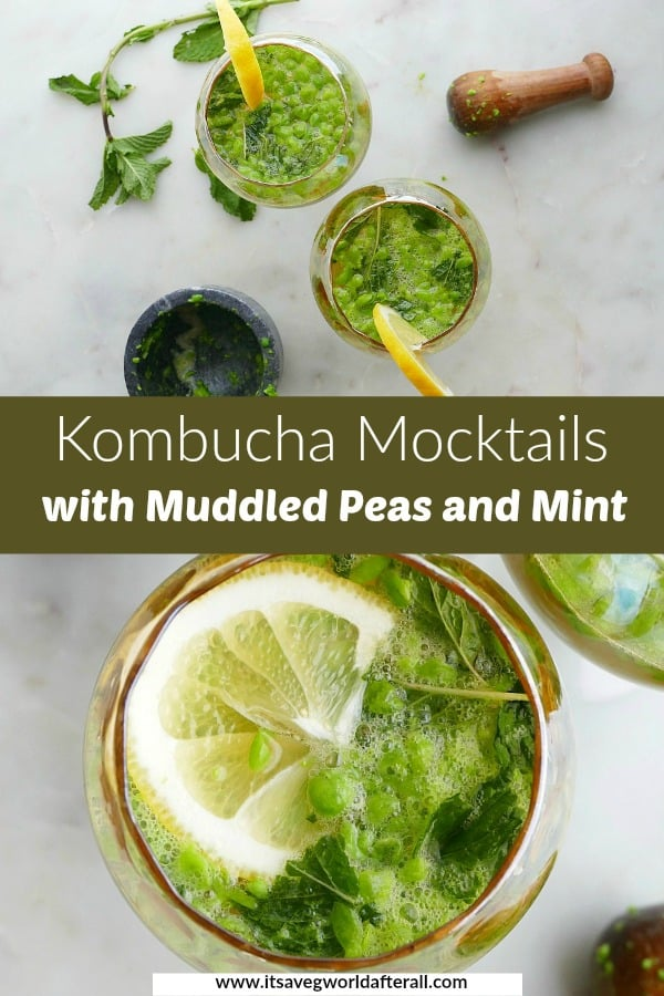 images of kombucha mocktails separated by a green text box with recipe name