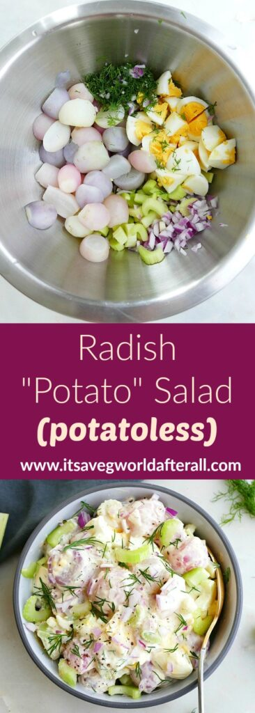 photos of ingredients and a bowl of radish potato salad with a text box in between