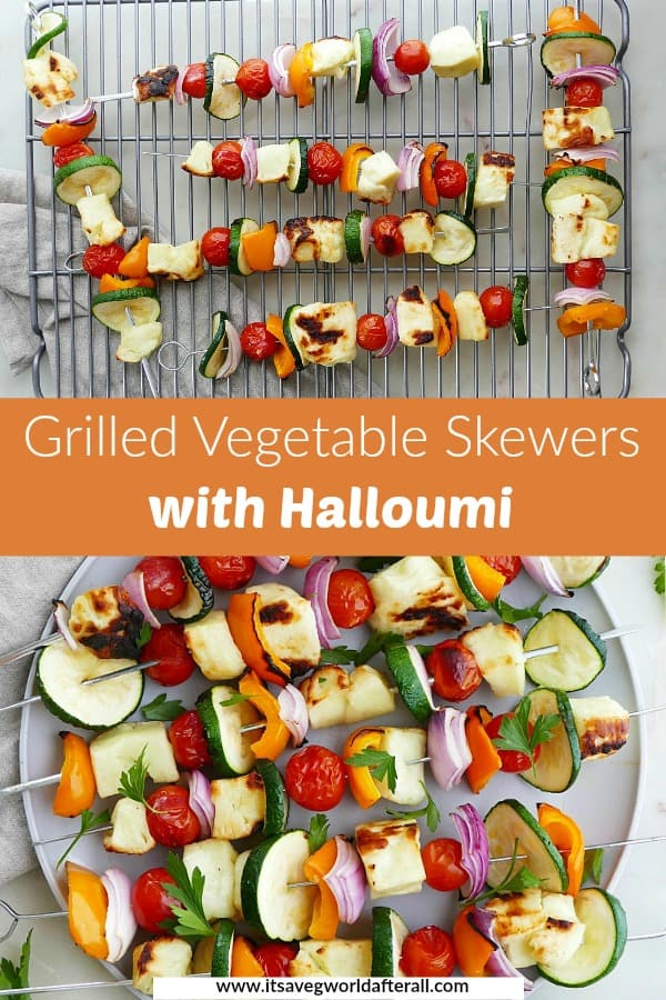 images of grilled veggie skewers separated by an orange text box