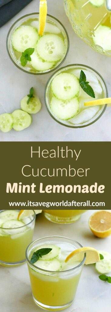 images of cucumber mint lemonade separated by a text box with recipe title