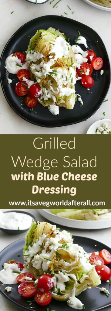 images of grilled wedge salad separated by a recipe title text box