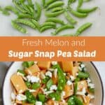 images of sugar snap peas and a finished recipe separated by a text box
