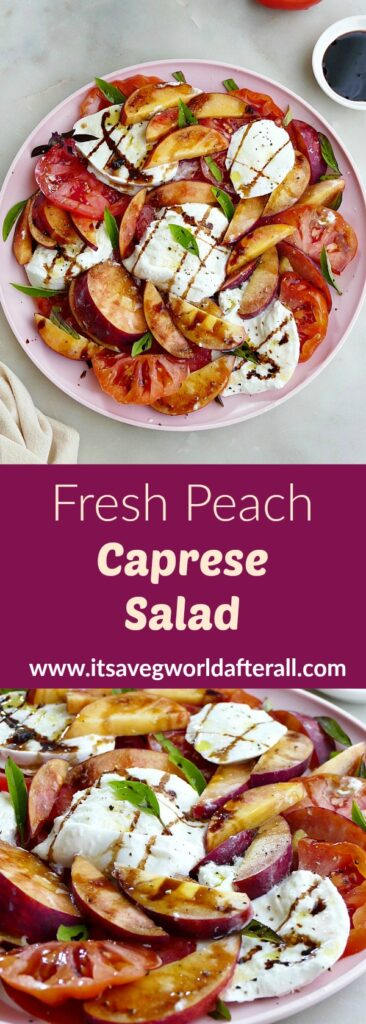 images of peach caprese salad separated by a purple text box with recipe title