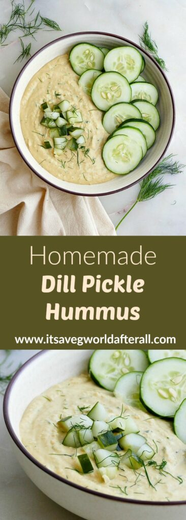 images of hummus and cucumbers separated by a text box with recipe title