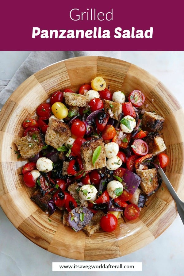 image of grilled panzanella salad with a purple text box on top with recipe title