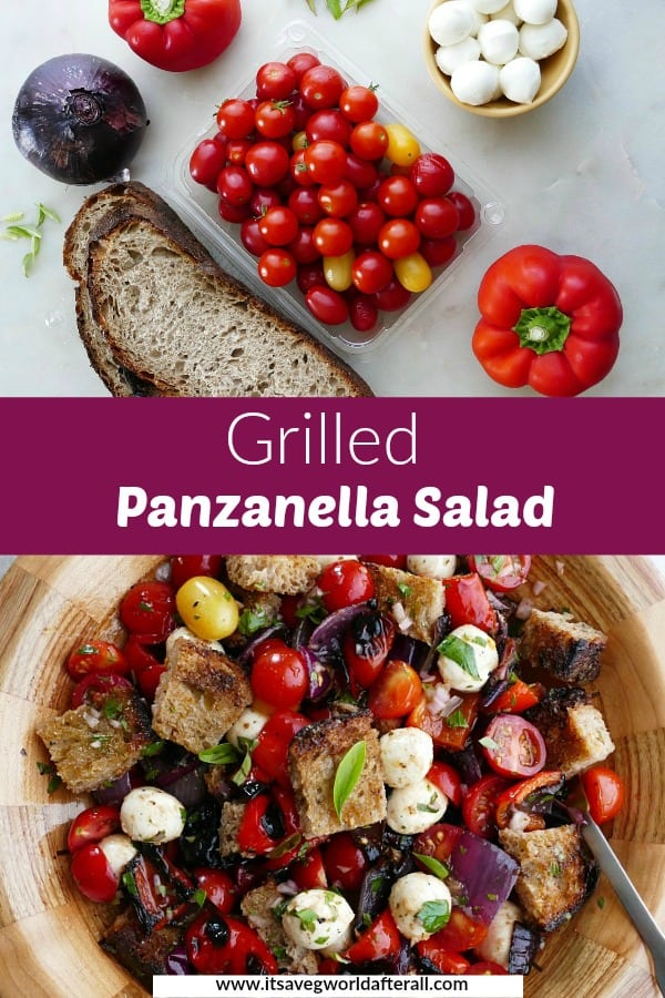 images of ingredients and finished grilled panzanella salad separated by a text box