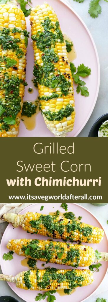 images of grilled sweet corn cobs separated by a text box with recipe title