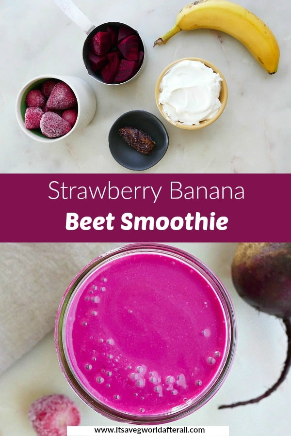 images of ingredients and completed smoothie separated by a purple text box