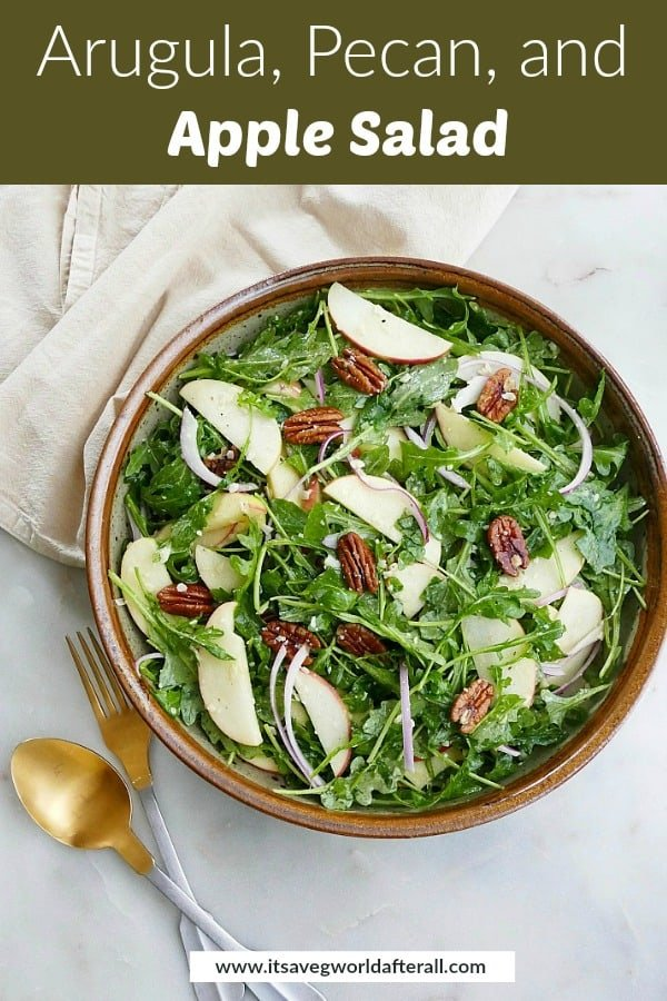 image of arugula apple salad with a green text box with recipe title