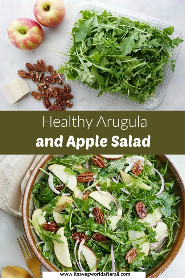 images of ingredients and finished salad separated by a text box with recipe title