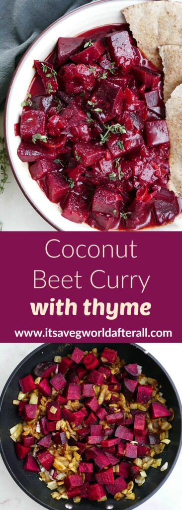 images of coconut beet curry separated by a text box with recipe title