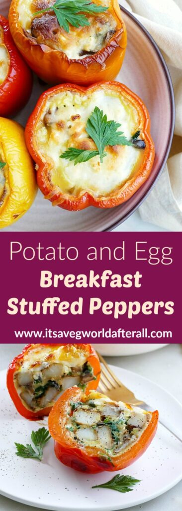 images of breakfast stuffed peppers separated by a text box with recipe title