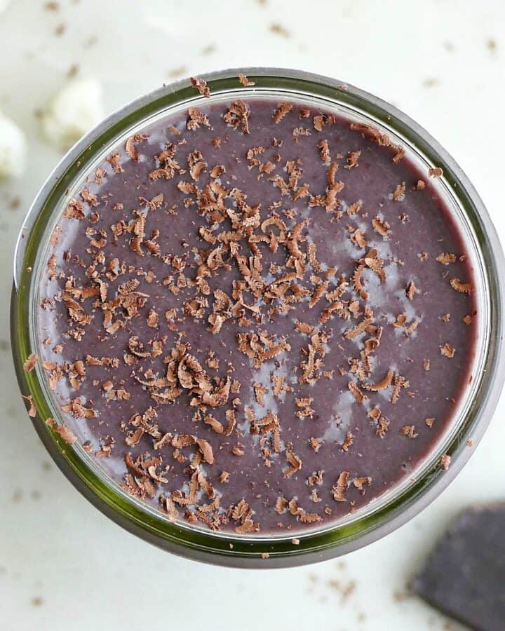 square image of cherry chocolate cauliflower smoothie on a counter