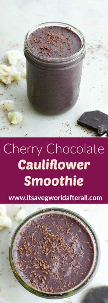 images of chocolate cauliflower smoothie separated by text box with recipe title