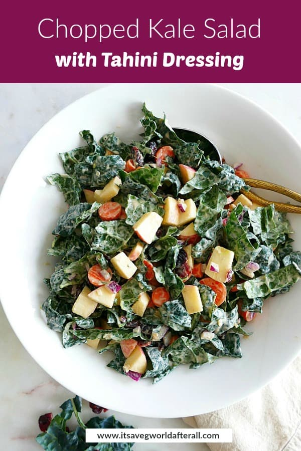image of kale salad with tahini dressing with text box on top with recipe title