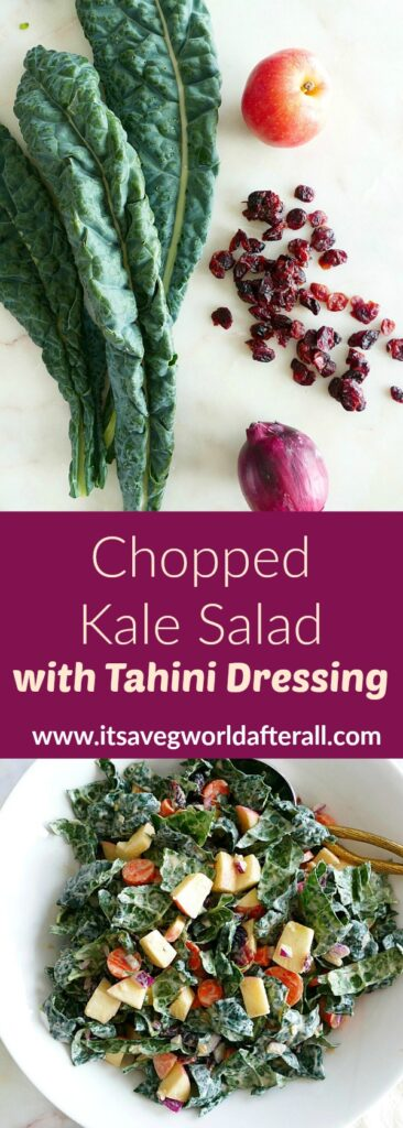 images of ingredients and finished kale salad separated by a text box with recipe title