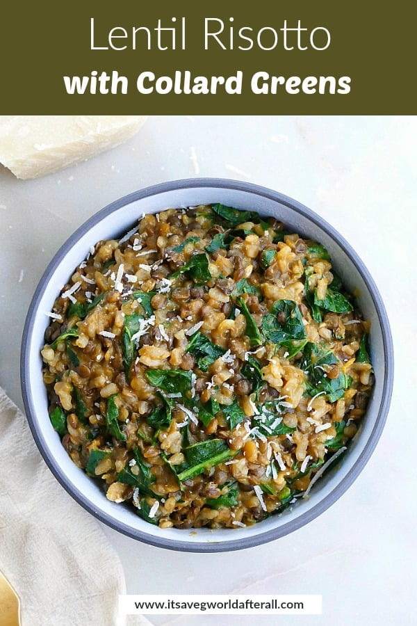 image of lentil risotto with a text box on top with recipe title