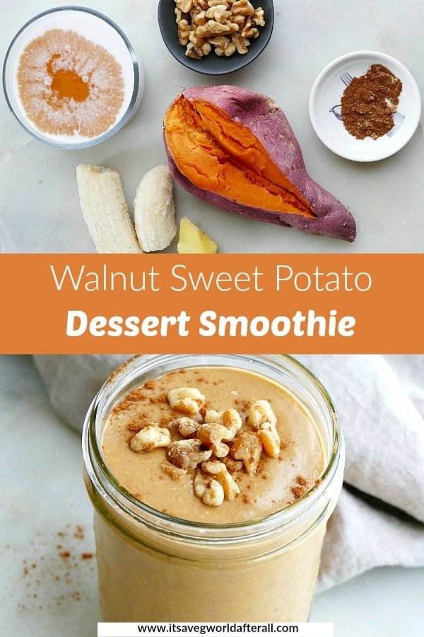 image of ingredients and finished smoothie separated by a text box with recipe title
