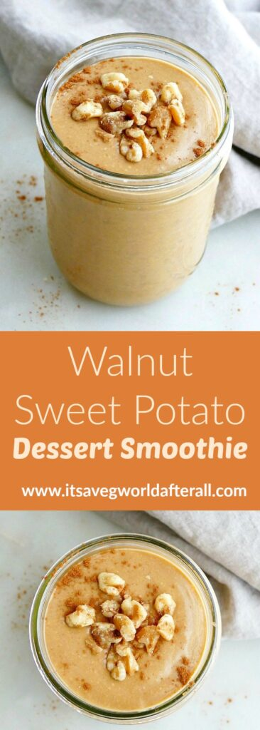 images of sweet potato smoothie separated by a text box with recipe title