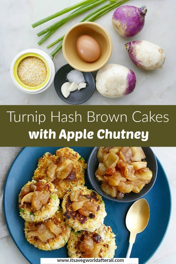 images of ingredients and finished turnip hash browns separated by a text box with recipe title