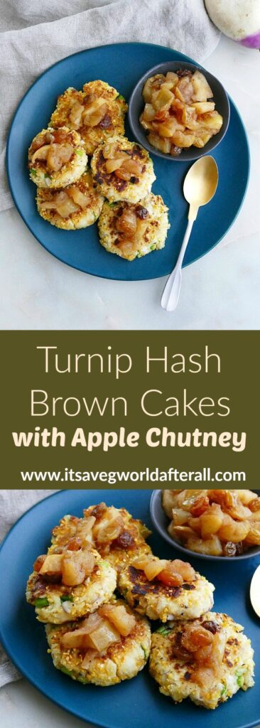 images of turnip hash brown cakes separated by a text box with recipe title