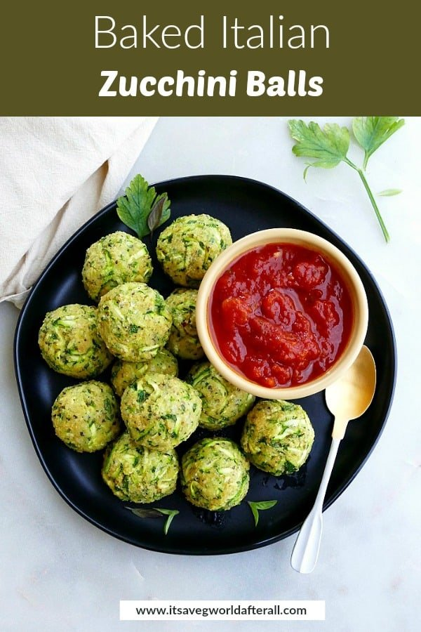 zucchini balls and tomato sauce on a serving plate with a green text box on top