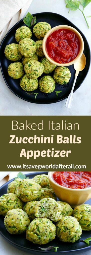 images of zucchini balls separated by a green text box with recipe title