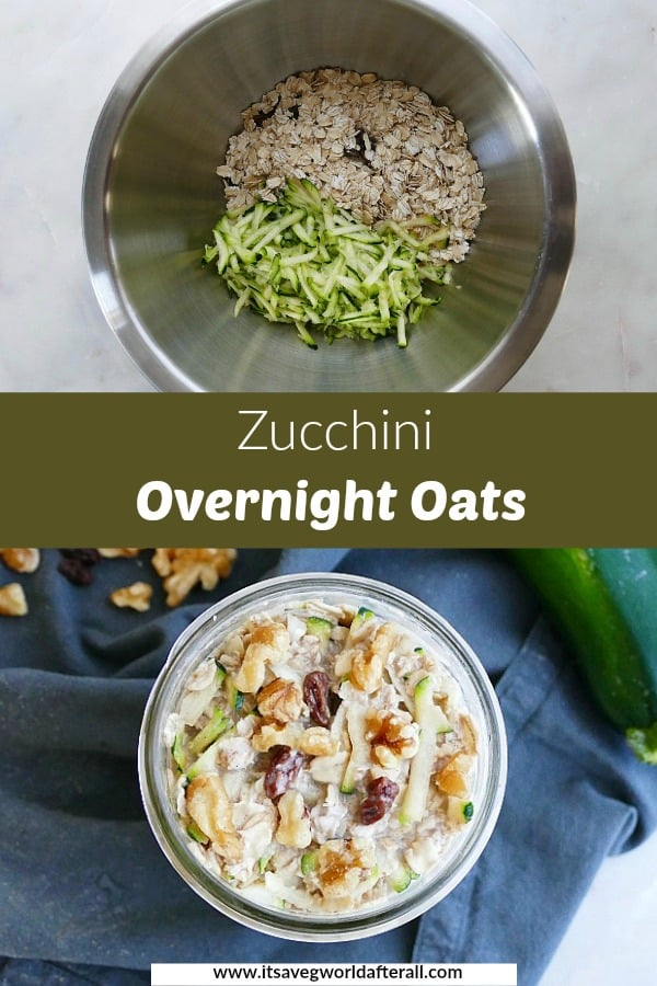 images of a mixing bowl with ingredients and finished overnight oats separated by text box