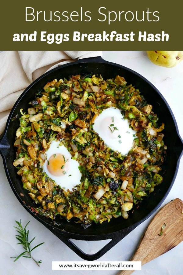 image of Brussels sprouts and eggs under a text box with recipe title