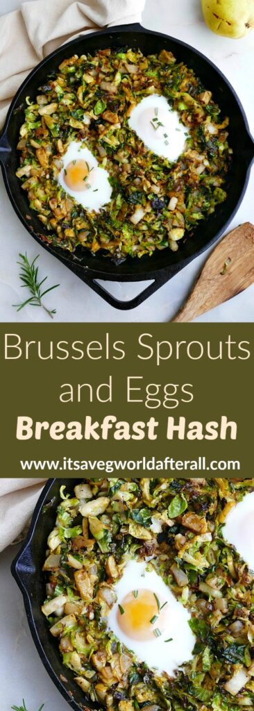 images of Brussels sprouts and eggs breakfast hash separated by a text box with recipe title