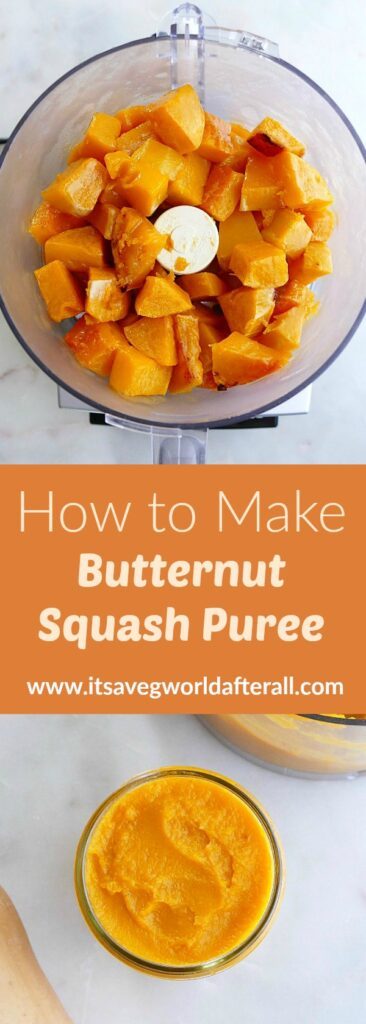 images of butternut squash cubes and puree separated by a text box with recipe title