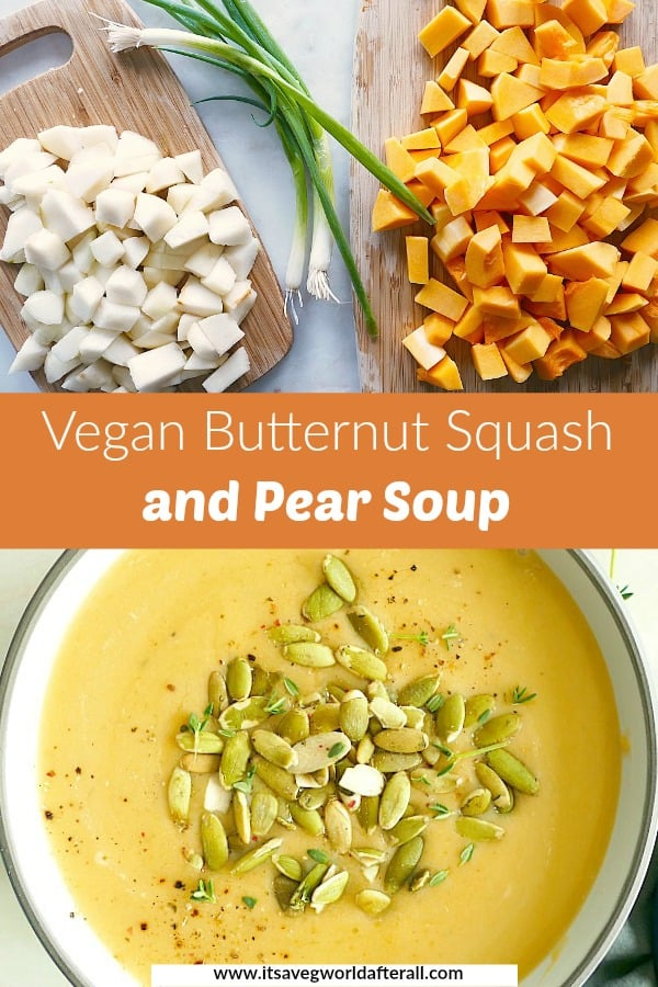 image of ingredients and completed butternut squash soup separated by a text box with recipe title