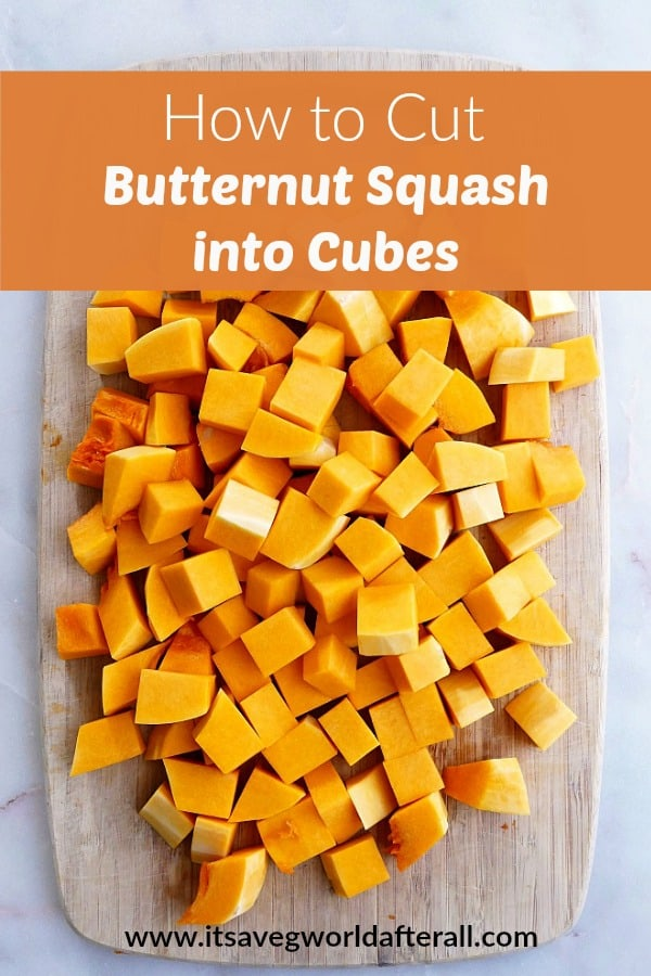 photo of cubed butternut squash on a cutting board with a text box with post title