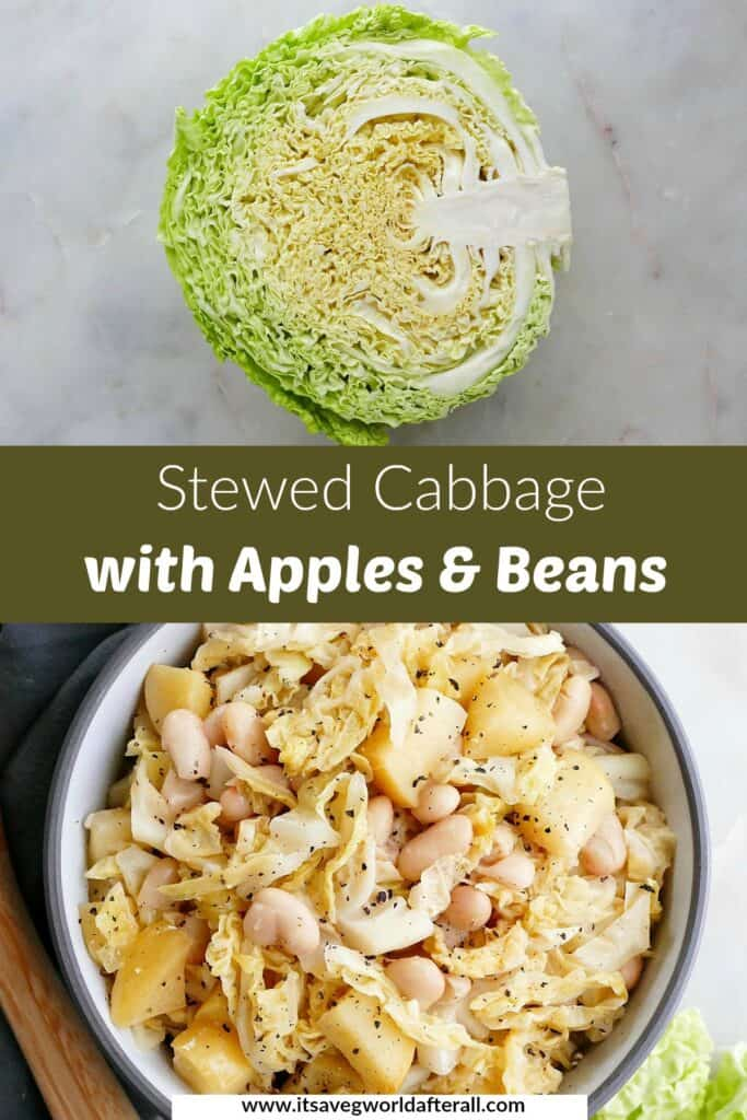 photos of raw cabbage and stewed cabbage separated by a text box with recipe title