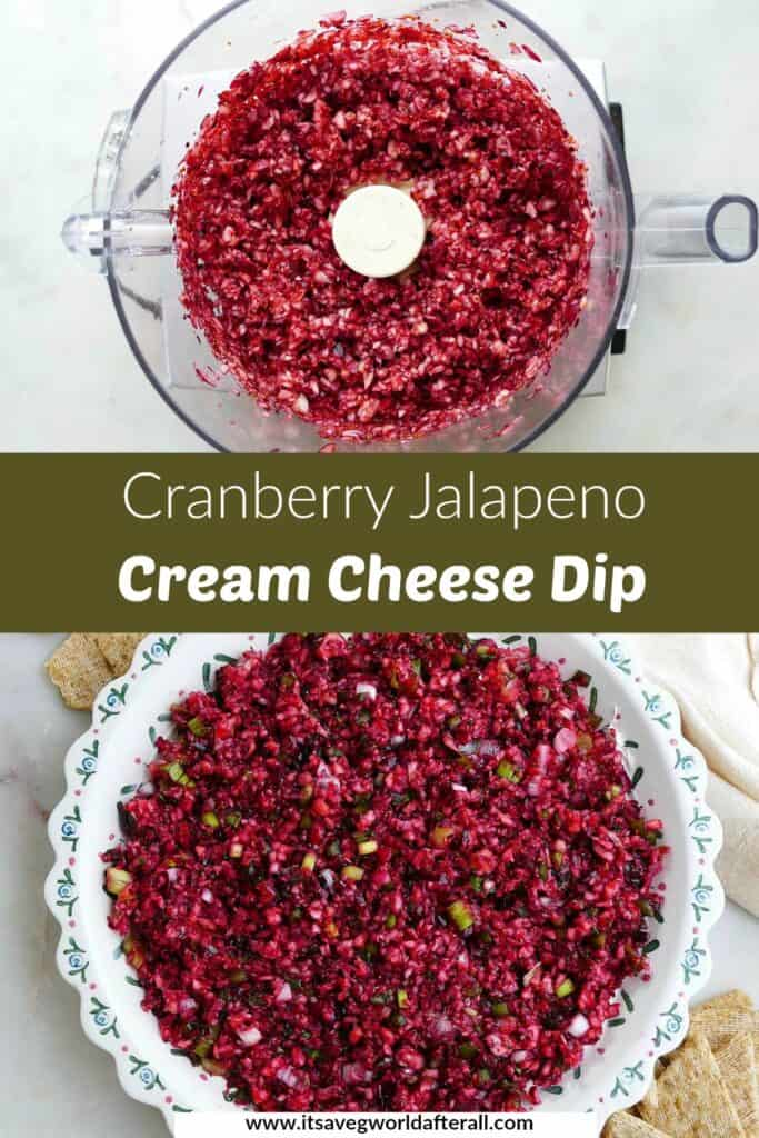 images of chopped cranberries and cranberry dip separated by a text box with recipe title