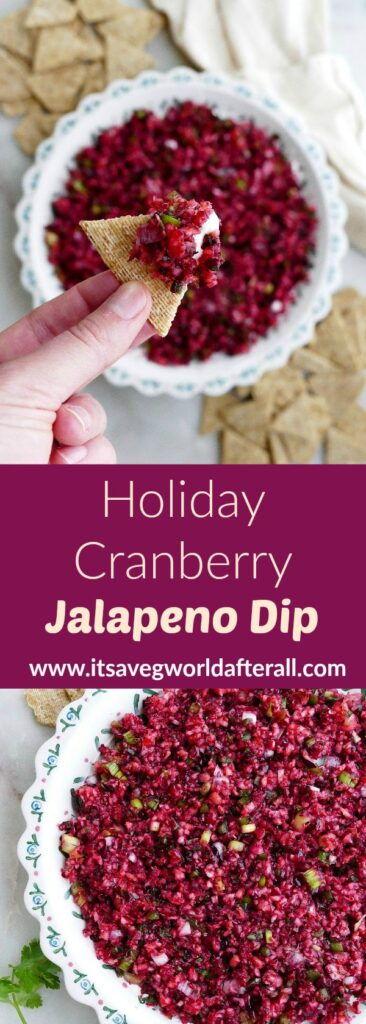 images of cranberry jalapeno dip separated by a text box with recipe title