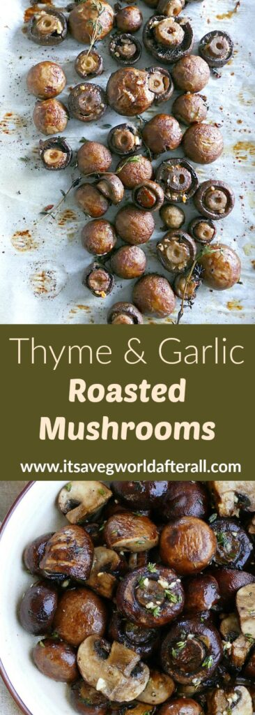 images of roasted mushrooms separated by a text box with recipe title