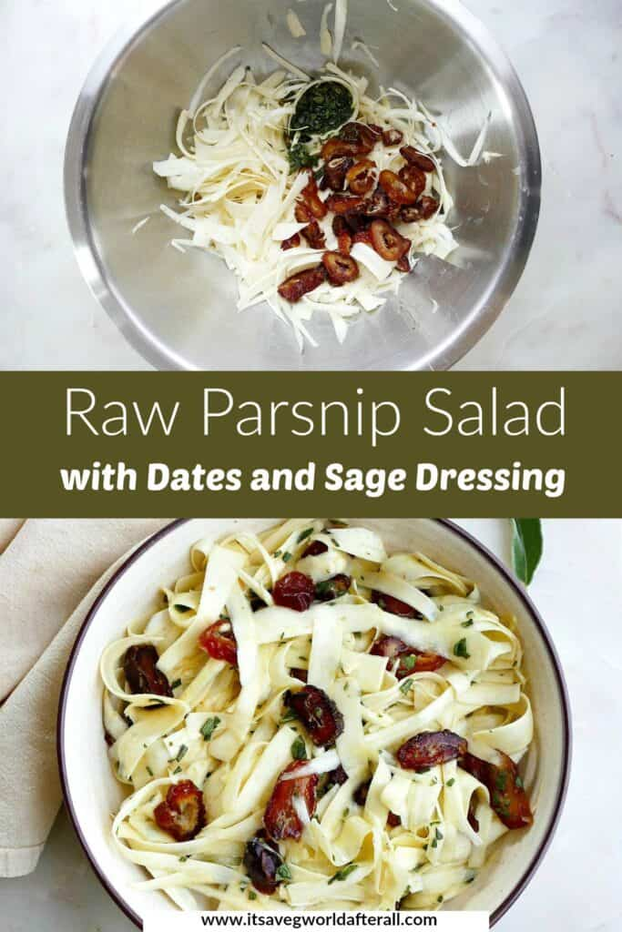 images of raw parsnip salad in a mixing bowl and serving bowl separated by text box with title