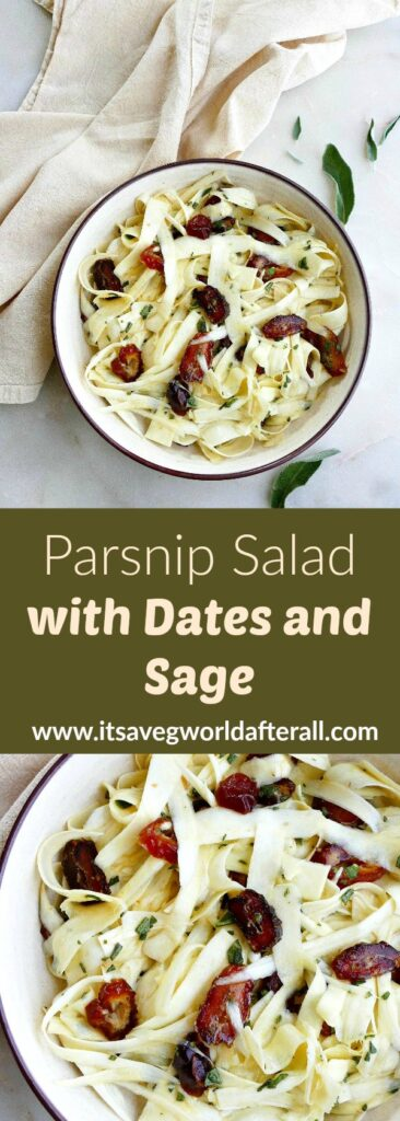 images of parsnip salad in a serving bowl separated by text box with recipe title