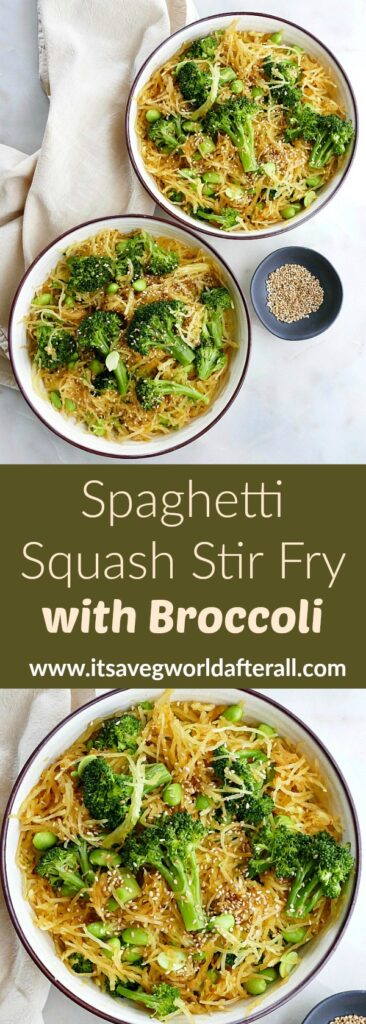 images of spaghetti squash stir fry separated by text box with recipe title