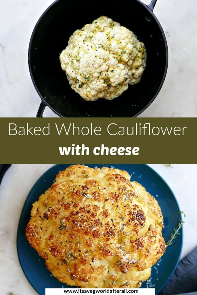 images of baked whole cauliflower separated by text box with recipe title