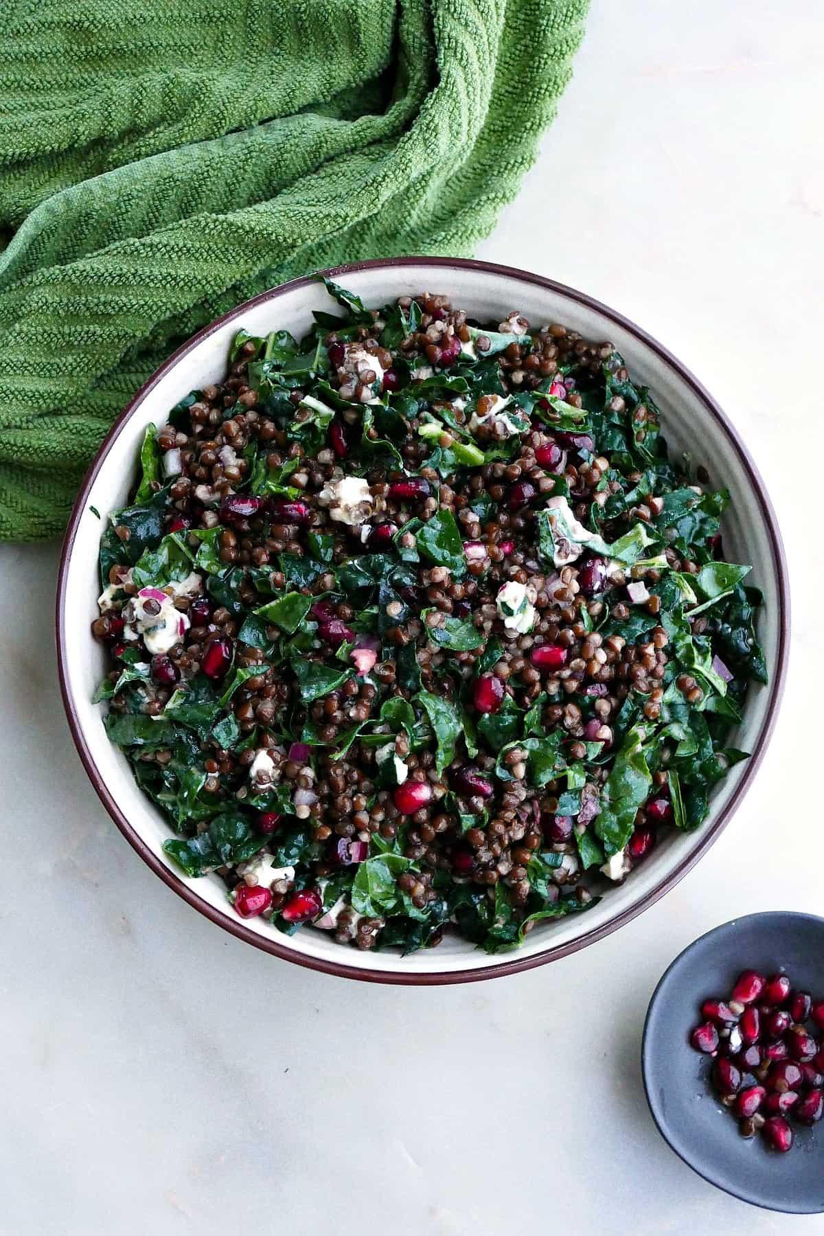 black lentil, kale, and pomegranate salad in a large serving bowl on a counter